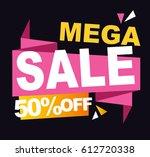 super sale vector banner.  50... | Shutterstock .eps vector #612720338
