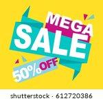 super sale vector banner.  50... | Shutterstock .eps vector #612720386