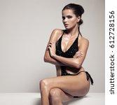 portrait of stylish beautiful... | Shutterstock . vector #612728156