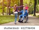 disabled grandfather in... | Shutterstock . vector #612736436