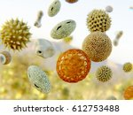 Pollen grains. 3D rendering Pollen grains of 8 different plant species being transported by the wind.
