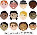 raster version of 12 boys faces   Shutterstock . vector #61276558