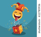 jack in the box with confetti ... | Shutterstock .eps vector #612785936