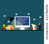programming and coding.... | Shutterstock .eps vector #612786056