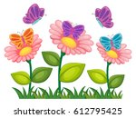 butterflies flying in flower... | Shutterstock .eps vector #612795425