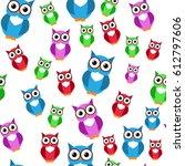 cute owls. vector seamless... | Shutterstock .eps vector #612797606