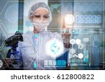 doctor in futuristic medical... | Shutterstock . vector #612800822
