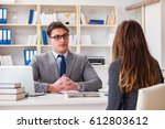 business meeting between... | Shutterstock . vector #612803612