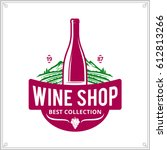 vector crimson and green wine... | Shutterstock .eps vector #612813266