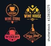 set of vector yellow pink logo | Shutterstock .eps vector #612813275