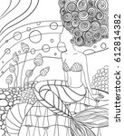mermaid hand drawn vector .... | Shutterstock .eps vector #612814382