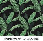 seamless tropical leaves palm... | Shutterstock .eps vector #612829406