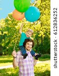 father and son spending time... | Shutterstock . vector #612836252