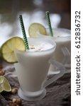 lime milk shake for two | Shutterstock . vector #612836732