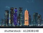 Stock photo skyline of doha by night qatar 612838148