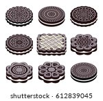 vector icons of oreo cookie set | Shutterstock .eps vector #612839045