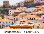two glasses of madeira wine and ...   Shutterstock . vector #612840572