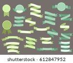 set of green vintage ribbons... | Shutterstock .eps vector #612847952