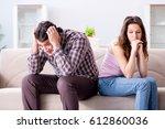 young family in broken... | Shutterstock . vector #612860036