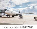 the white unrecognizable plane... | Shutterstock . vector #612867986
