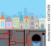 city landscape. municipal pipe... | Shutterstock .eps vector #612871658