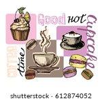 hand drawn doodle dessert  ... | Shutterstock .eps vector #612874052