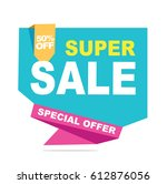 super sale vector banner.  50... | Shutterstock .eps vector #612876056
