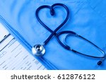 medical stethoscope twisted in... | Shutterstock . vector #612876122