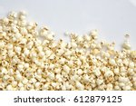 tasty salted popcorn isolated... | Shutterstock . vector #612879125