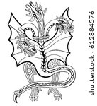 Three Headed Dragon. Coloring...