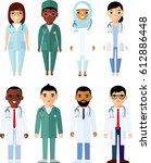 set of different arab business... | Shutterstock .eps vector #612886448