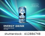 energy drink on wavy and shiny...   Shutterstock .eps vector #612886748