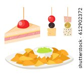 various meat canape snacks... | Shutterstock .eps vector #612902372