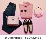 romantic clothes set. city... | Shutterstock . vector #612932486