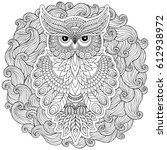 lovely owl coloring page design ... | Shutterstock .eps vector #612938972