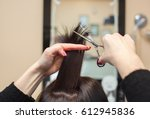 the hairdresser does a haircut... | Shutterstock . vector #612945836