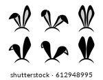 Stock vector easter bunny ears mask rabbit ear spring hat set isolated on white background vector illustration 612948995