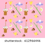 easter background with chickens ... | Shutterstock .eps vector #612966446