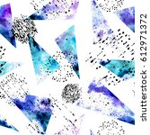 seamless pattern of watercolor... | Shutterstock . vector #612971372