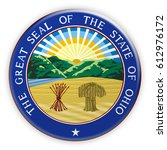 badge us state seal ohio  3d... | Shutterstock . vector #612976172