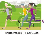 girls jogging | Shutterstock .eps vector #61298635