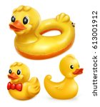 rubber ducks  3d vector icon set | Shutterstock .eps vector #613001912