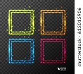 set of neon frames with... | Shutterstock .eps vector #613013906