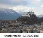 mountain  castle  and the city | Shutterstock . vector #613023188