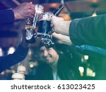 group of people celebrate party ... | Shutterstock . vector #613023425