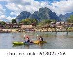 vang vieng  laos   january 19 ... | Shutterstock . vector #613025756