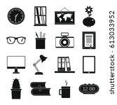 set flat black silhouette... | Shutterstock .eps vector #613033952