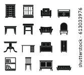 set flat black silhouette... | Shutterstock .eps vector #613033976