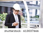 engineer is looking at his... | Shutterstock . vector #613037666