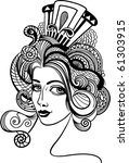 fashion girl   vector hand drawn | Shutterstock .eps vector #61303915